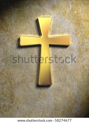 Golden religious symbol on a stone surface. Digital illustration. - stock photo