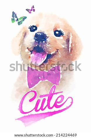 Golden retriever dog with butterfly/Portrait of golden retriever/Picture I have painted with watercolors/Animal collection: Dog/T-shirt graphics/illustrations for children/cute dog/dog graphic - stock photo