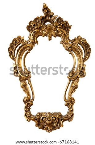 golden retro mirror frame, baroque style,  isolated on white  (clipping paths included) - stock photo