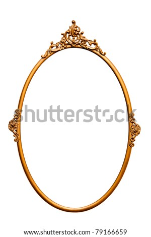 Golden retro mirror frame, isolated on white (clipping paths included) - stock photo