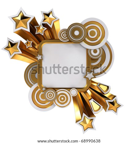 Golden retro style placard on white background with copy space - stock photo