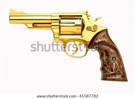 Golden revolver gun on white background