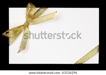 Golden ribbon and bow - stock photo