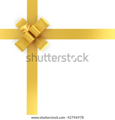 golden ribbon and bow isolated on white background with clipping path