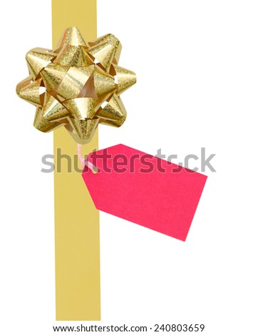 golden ribbon and bow with tag, isolated on white background - stock photo