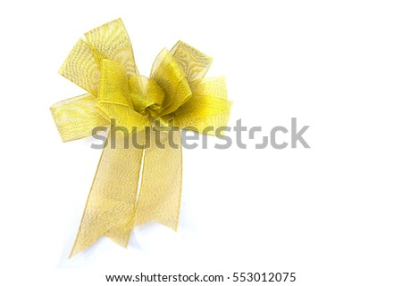 Golden Ribbon Bow isolated on White Background