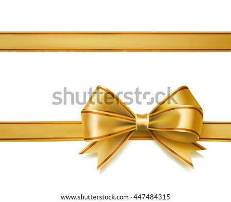golden ribbon bow on white. decorative design elements. raster