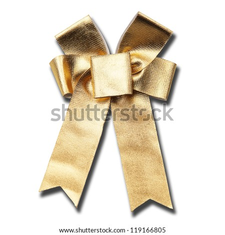 Golden ribbon tied to Christmas bow. Isolated on white background.