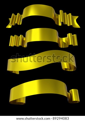 golden  ribbons - stock photo