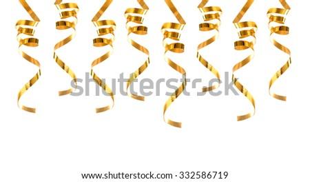 Golden ribbons isolated on white background - stock photo