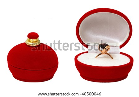Golden ring in a box - stock photo
