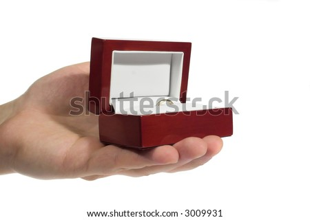 Golden ring in the box (a little gift) - stock photo