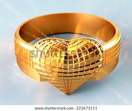 Golden ring in the shape of a heart - stock photo