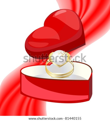 golden ring-pearl in the box-heart - stock photo