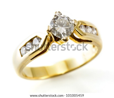 Golden ring with diamond isolated on the white - stock photo
