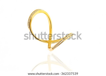 Golden ring with diamond isolated on white... - stock photo
