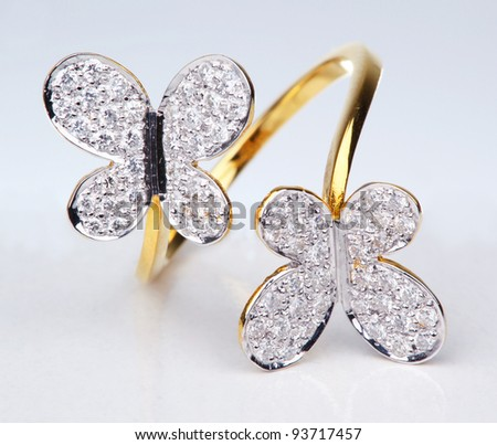 Golden Ring with Diamond, Isolated on white background, Flower style - stock photo