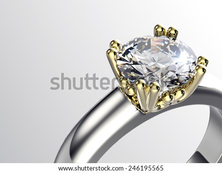Golden Ring with Diamond. Jewelry background. Valentine day - stock photo