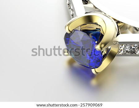 Golden Ring with Diamond. Jewelry background. Valentine day. Sapphire - stock photo
