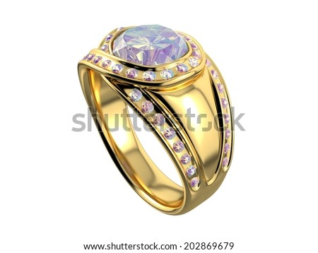 Golden Ring with Diamond on white background. 3D image