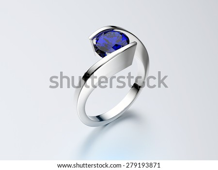 Golden Ring with sapphire. Jewelry background - stock photo