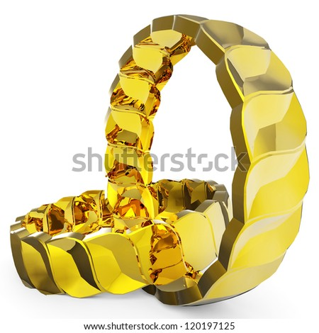 golden rings different view - stock photo