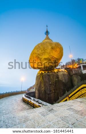 Golden rock, Kyaikhtiyo pagoda, Myanmar.They are public domain or treasure of Buddhism - stock photo