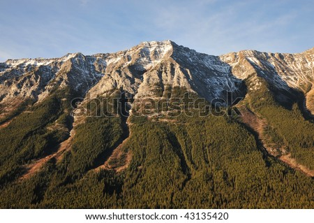 Golden rocky mountains in morning sunlight, kananaskis country, alberta, canada - stock photo