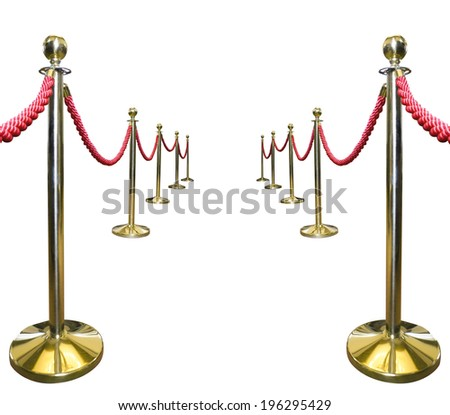 Golden rope barrier isolated on white. - stock photo