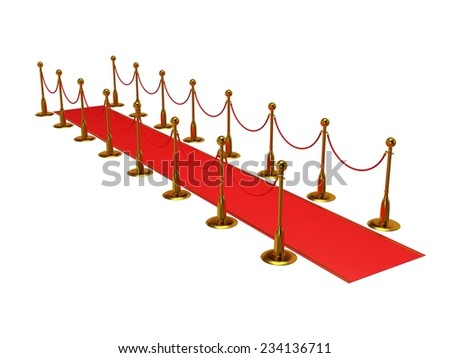 Golden rope barrier with red event carpet over white - 3d render - stock photo