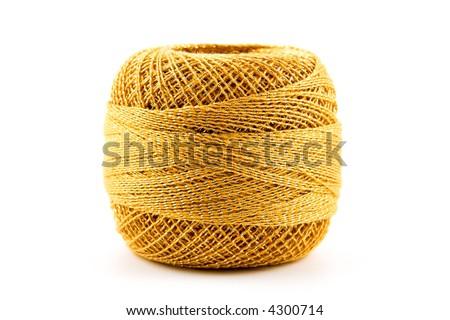 Golden rope on white - stock photo