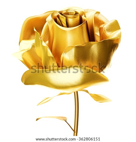 golden rose 3d isolated on white background - stock photo