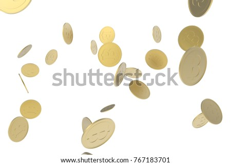 golden rough bitcoin 3D Illustration on white background