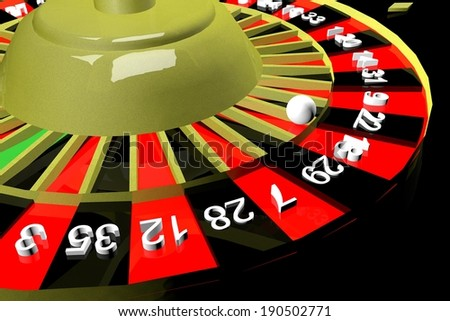 Golden roulette in close up, 3d render - stock photo