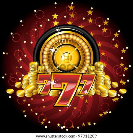 golden roulette wheel with coins - stock photo