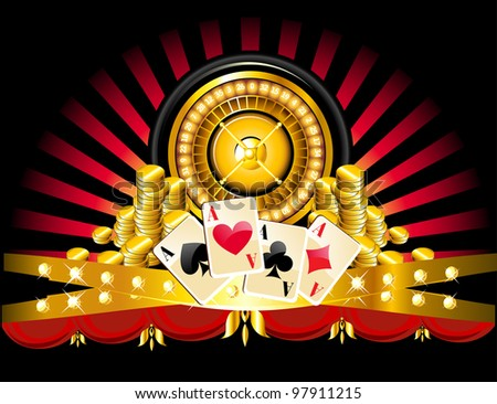 golden roulette wheel with coins and playing cards. - stock photo