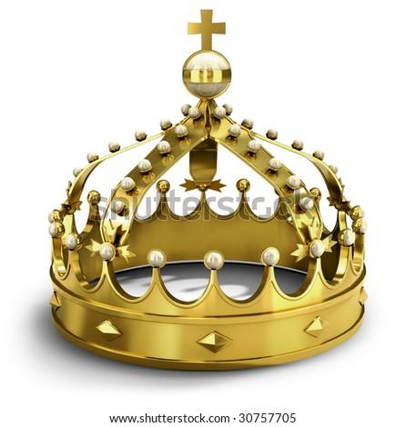 Golden royal crown (3d illustration) - stock photo