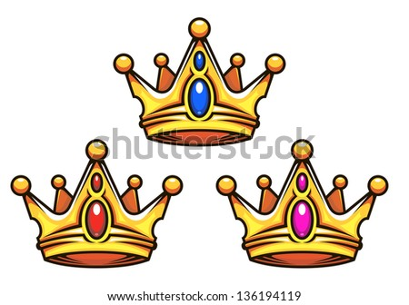 Golden royal crowns with jewelry elements for heraldry design. Vector version also available in gallery