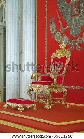 Golden royalty's Throne from?the St.Petersburg Hermitage collection - stock photo