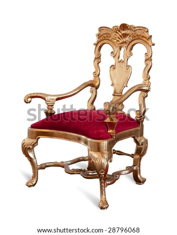 Golden royalty's Throne. Isolated on white with clipping path - stock photo