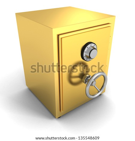 Golden safe bank vault on white background - stock photo