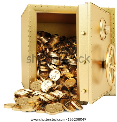 golden safe with a bunch of gold coins. isolated on white. - stock photo