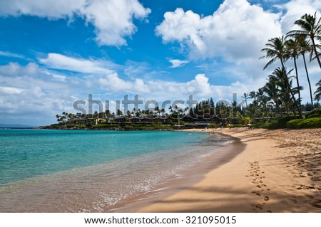 Golden sand and turqoise water of Napili beach in Maui - stock photo