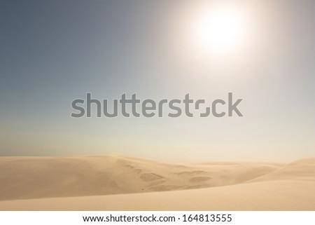 Golden sand dunes. - stock photo