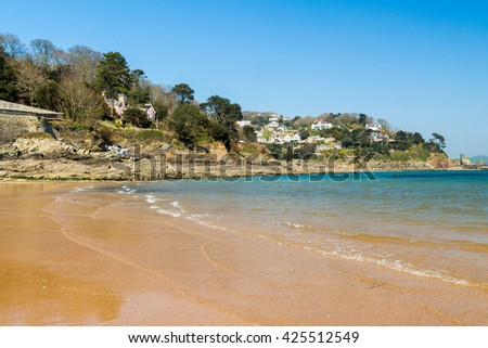 Golden sandy beach at South Sands Salcombe South Hams Devon England UK Europe