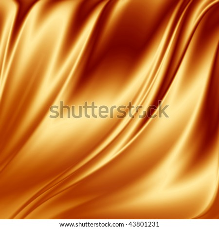 Golden satin fabric - stock photo