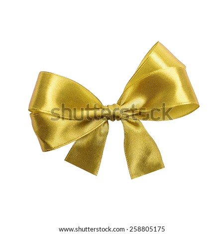 Golden satin gift bow. Ribbon. Isolated on white - stock photo