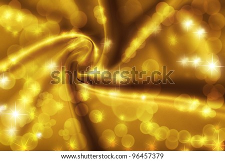 Golden satin, silk, waves, golden lights with sparkles