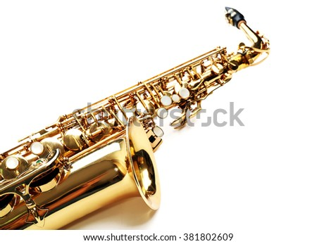 Golden saxophone isolated on white background, close up - stock photo