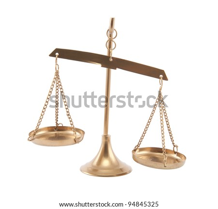 Golden scale on white background - stock photo